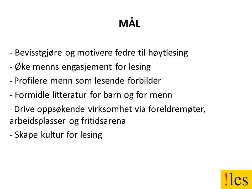 MÅL - Bevisstgjøre og motivere fedre til høytlesing - Øke menns engasjement for lesing - Profilere menn som lesende forbilder - Formidle litteratur for barn og for menn - Drive oppsøkende virksomhet via foreldremøter, arbeidsplasser og fritidsarena - Skape kultur for lesing