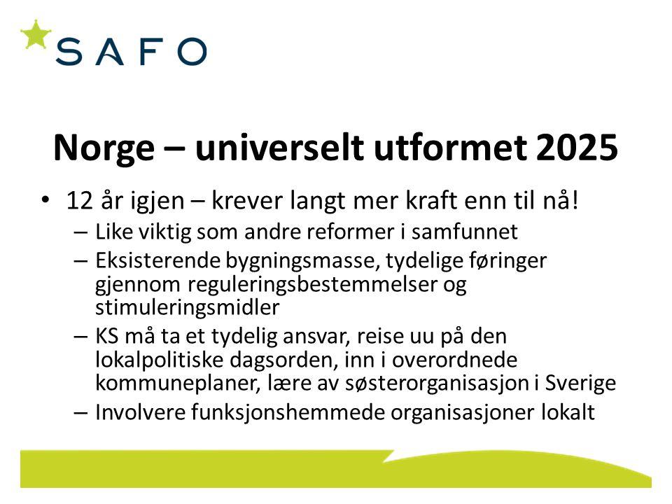 Norge – universelt utformet 2025 • 12 år igjen – krever langt mer kraft enn til nå.