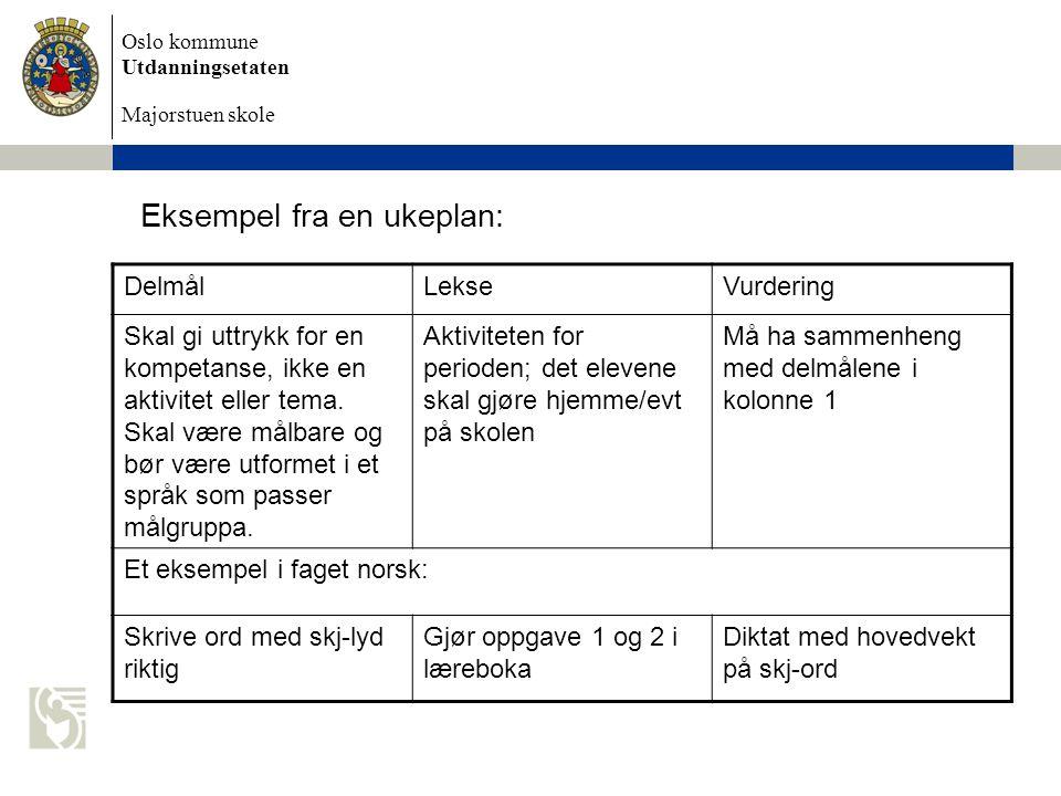 Oslo kommune Utdanningsetaten Majorstuen skole Eksempel fra en ukeplan: DelmålLekseVurdering Skal gi uttrykk for en kompetanse, ikke en aktivitet eller tema.