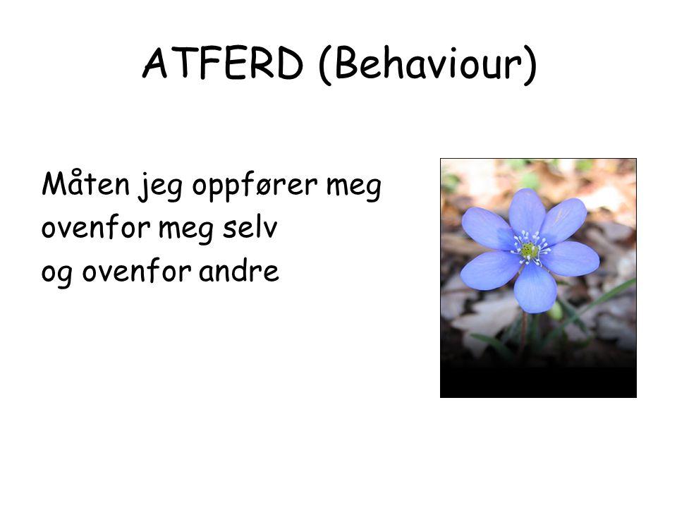 ATFERD (Behaviour) Måten jeg oppfører meg ovenfor meg selv og ovenfor andre