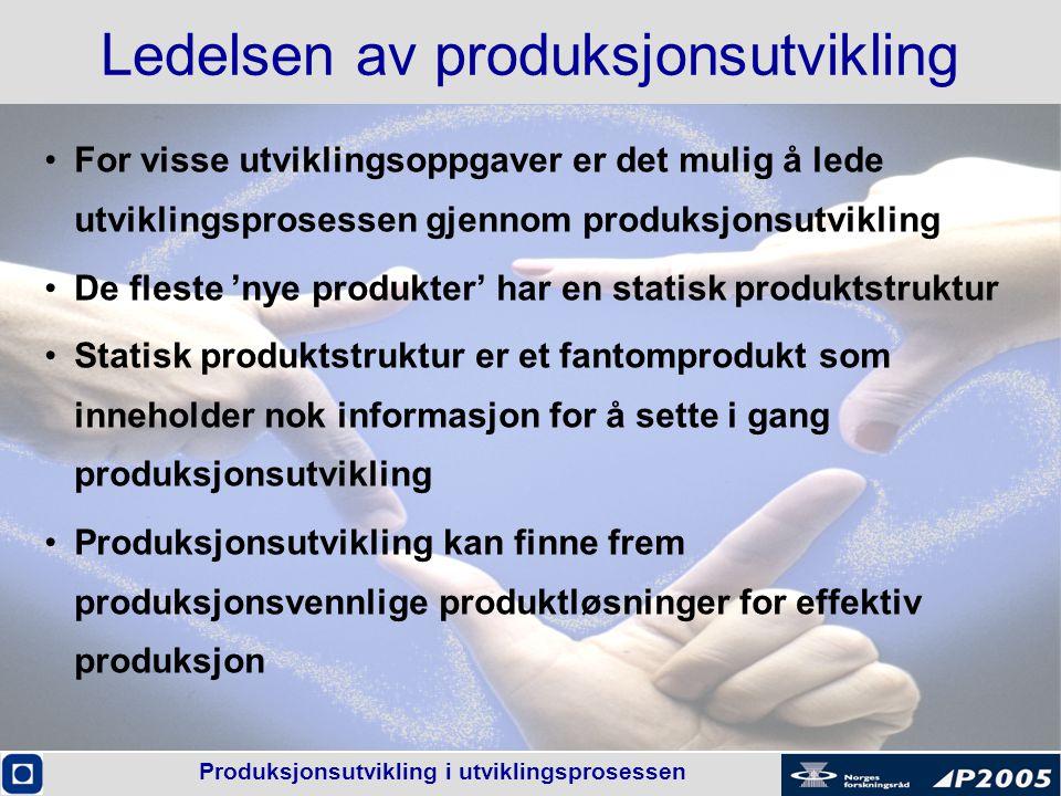 Produksjonsutvikling i utviklingsprosessen Ledelsen av produksjonsutvikling •For visse utviklingsoppgaver er det mulig å lede utviklingsprosessen gjen