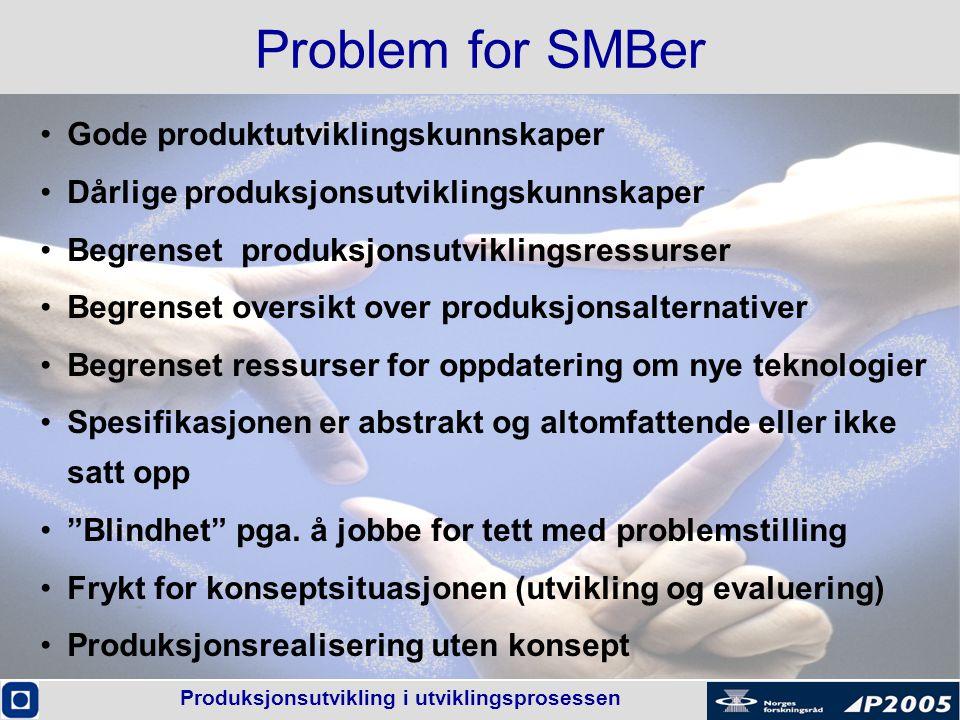 Produksjonsutvikling i utviklingsprosessen Problem for SMBer •Gode produktutviklingskunnskaper •Dårlige produksjonsutviklingskunnskaper •Begrenset pro