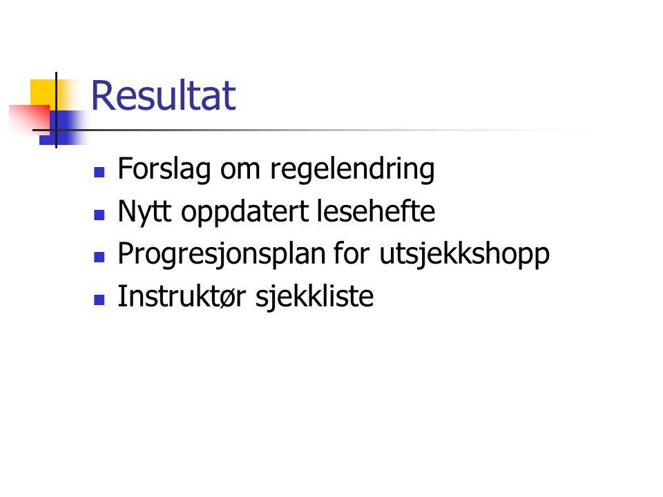Resultat  Forslag om regelendring  Nytt oppdatert lesehefte  Progresjonsplan for utsjekkshopp  Instruktør sjekkliste