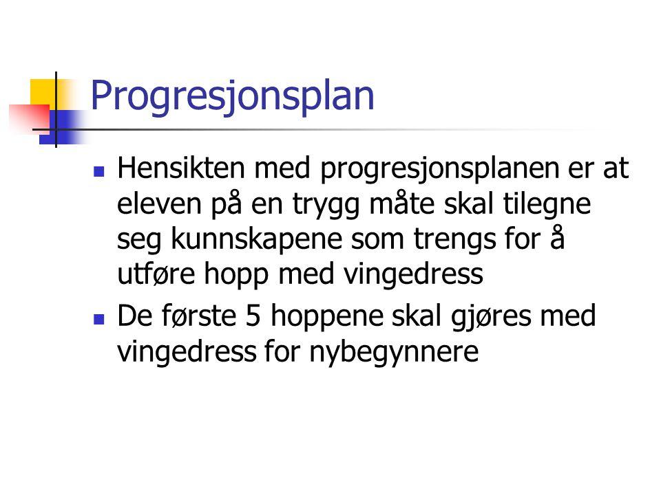 Progresjonsplan  Hensikten med progresjonsplanen er at eleven på en trygg måte skal tilegne seg kunnskapene som trengs for å utføre hopp med vingedress  De første 5 hoppene skal gjøres med vingedress for nybegynnere