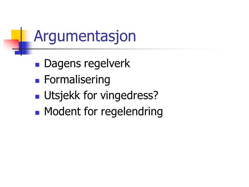 Argumentasjon  Dagens regelverk  Formalisering  Utsjekk for vingedress.