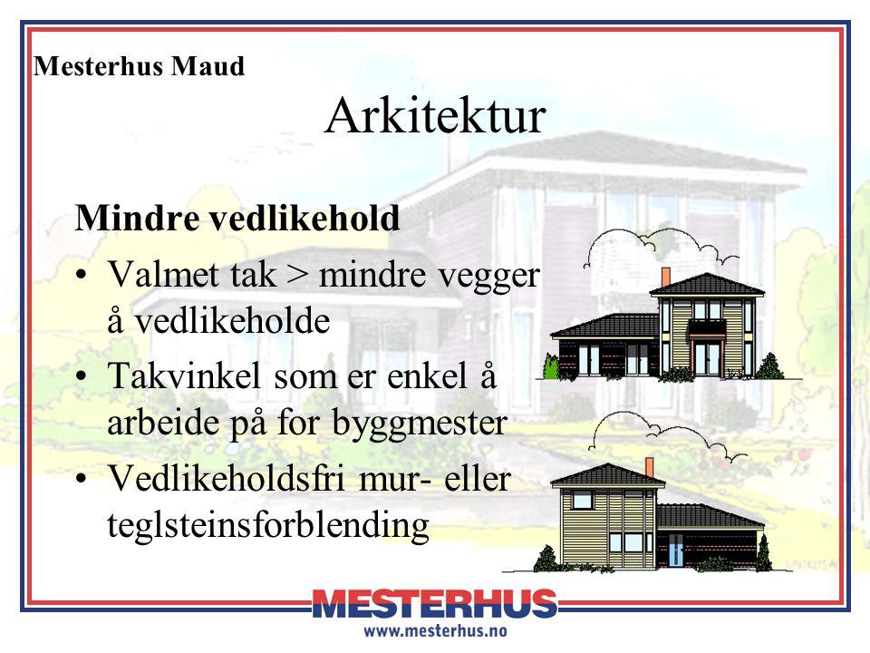 Mesterhus Maud Arkitektur Mindre vedlikehold •Valmet tak > mindre vegger å vedlikeholde •Takvinkel som er enkel å arbeide på for byggmester •Vedlikeho