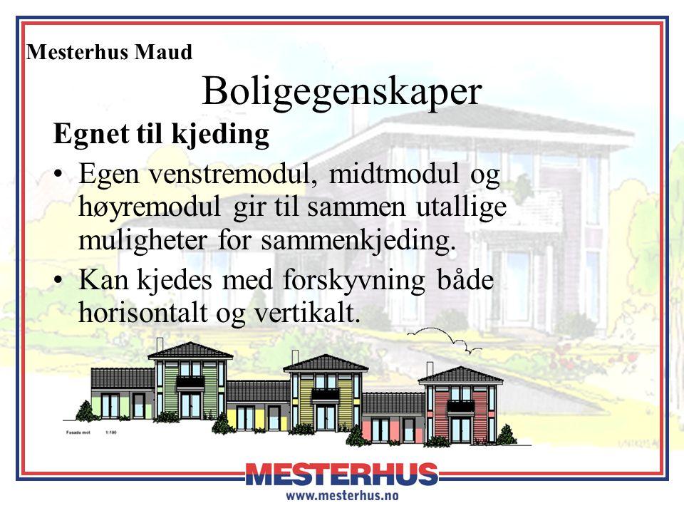 Mesterhus Maud Boligegenskaper Egnet til kjeding •Egen venstremodul, midtmodul og høyremodul gir til sammen utallige muligheter for sammenkjeding. •Ka