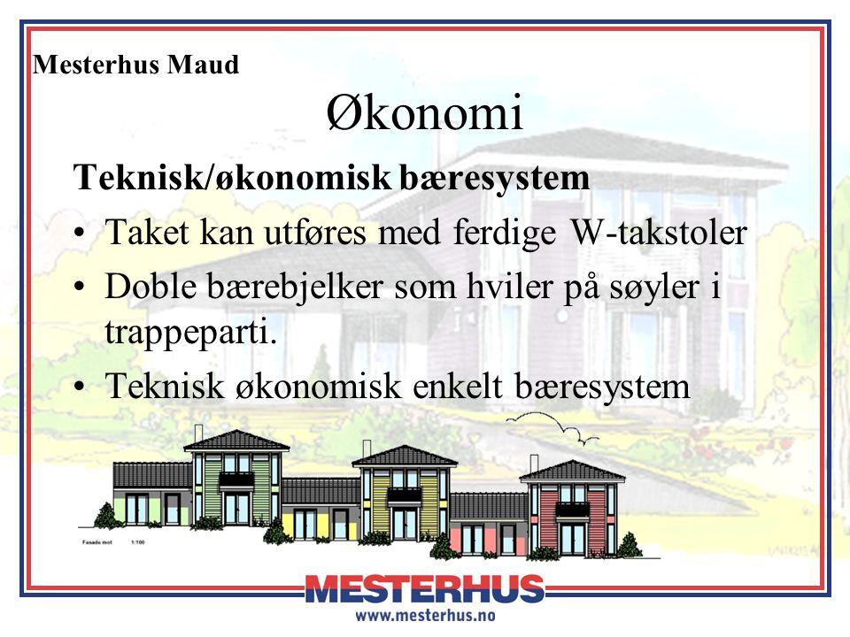 Mesterhus Maud Økonomi Teknisk/økonomisk bæresystem •Taket kan utføres med ferdige W-takstoler •Doble bærebjelker som hviler på søyler i trappeparti.