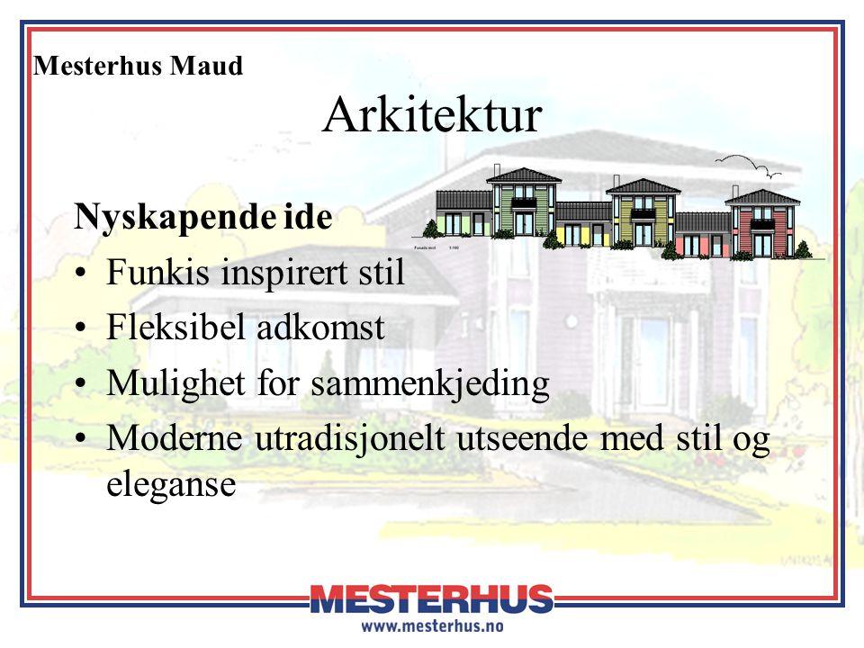 Mesterhus Maud Arkitektur Planløsning for nye trender og livsformer •Åpen og lys planløsning •Hagestue kan også benyttes som –TV-stue –Soverom –Livsløpsrom (Soverom)
