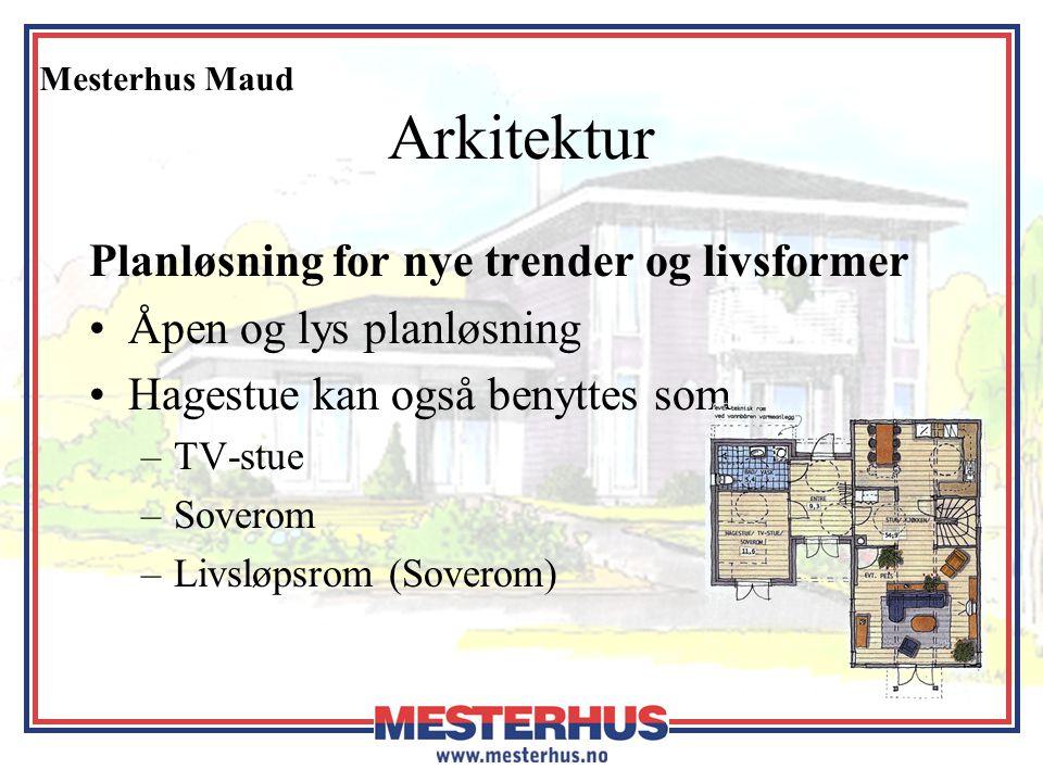 Mesterhus Maud Arkitektur Planløsning for nye trender og livsformer •Åpen og lys planløsning •Hagestue kan også benyttes som –TV-stue –Soverom –Livslø