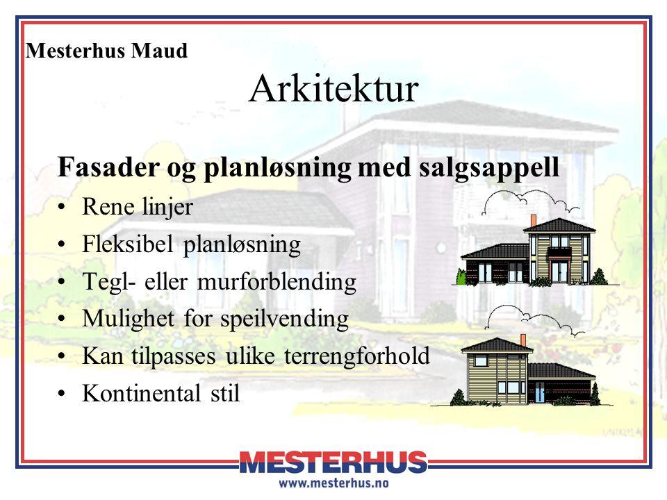 Mesterhus Maud Arkitektur Fasader og planløsning med salgsappell •Rene linjer •Fleksibel planløsning •Tegl- eller murforblending •Mulighet for speilve