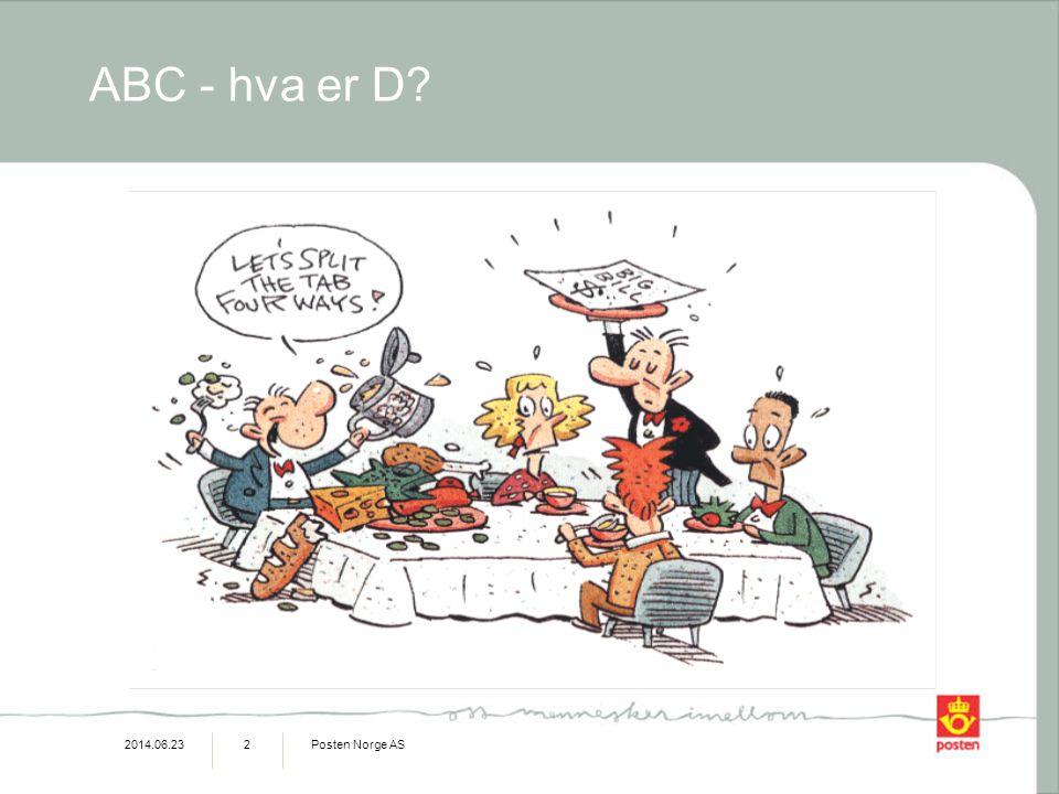 2014.06.23Posten Norge AS13 Aktivitetsbasert kostnadsfordeling Direkte materiell Direkte lønn Indirekte lønn Andre kostnader Produkter / Tjenester Brukere/ markeder Kostnader (ressurser) Aktiviteter Et kostnadssystem som fokuserer på aktiviteter som kostnadsbærer En aktivitet er en hendelse, oppgave, eller stykke arbeid med en spesifikk mening.