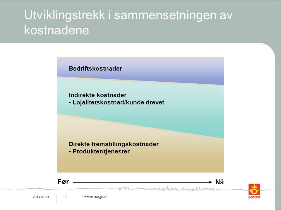2014.06.23Posten Norge AS5 Utviklingstrekk i sammensetningen av kostnadene Før Nå Direkte fremstillingskostnader - Produkter/tjenester Bedriftskostnader Indirekte kostnader - Lojalitetskostnad/kunde drevet