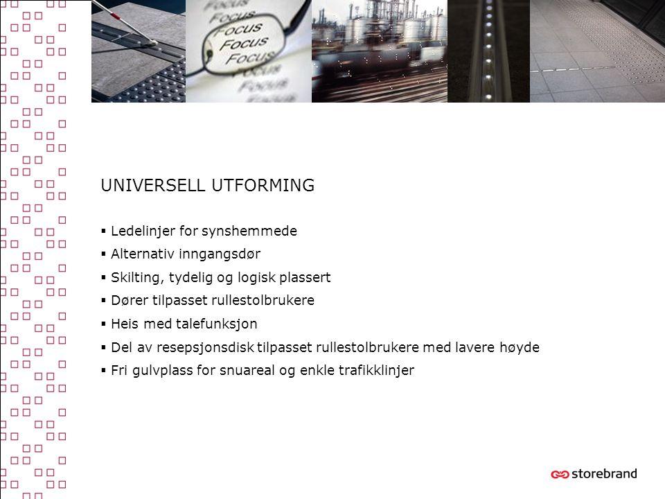 UNIVERSELL UTFORMING  Ledelinjer for synshemmede  Alternativ inngangsdør  Skilting, tydelig og logisk plassert  Dører tilpasset rullestolbrukere 
