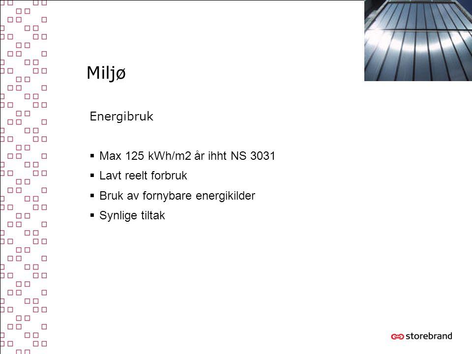 Miljø Energibruk  Max 125 kWh/m2 år ihht NS 3031  Lavt reelt forbruk  Bruk av fornybare energikilder  Synlige tiltak
