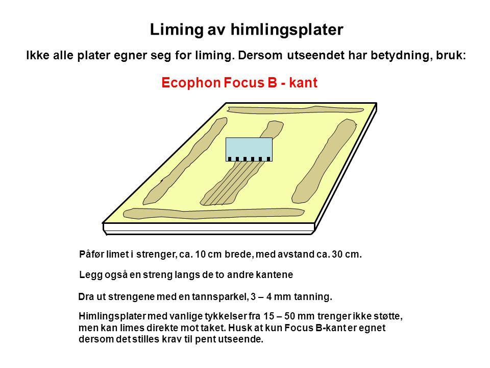 Liming av himlingsplater Ecophon Focus B-kant med fasede kanter Sørg for at kantene kommer tett sammen ved liming, og at platene har jevn limtykkelse for riktig vertikalnivå.