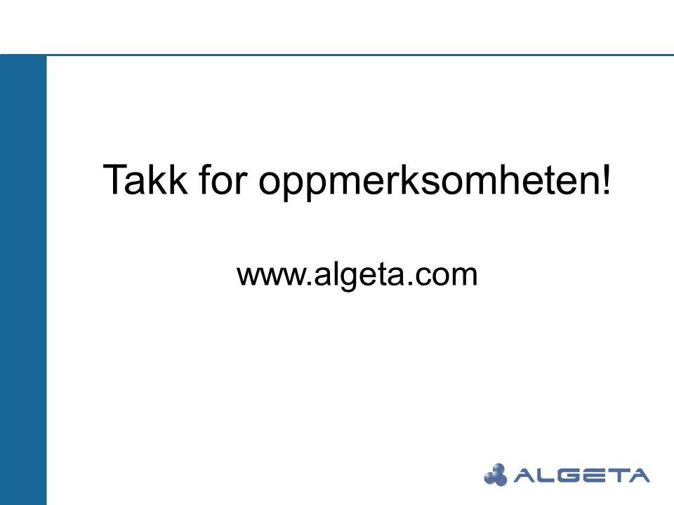 Takk for oppmerksomheten! www.algeta.com