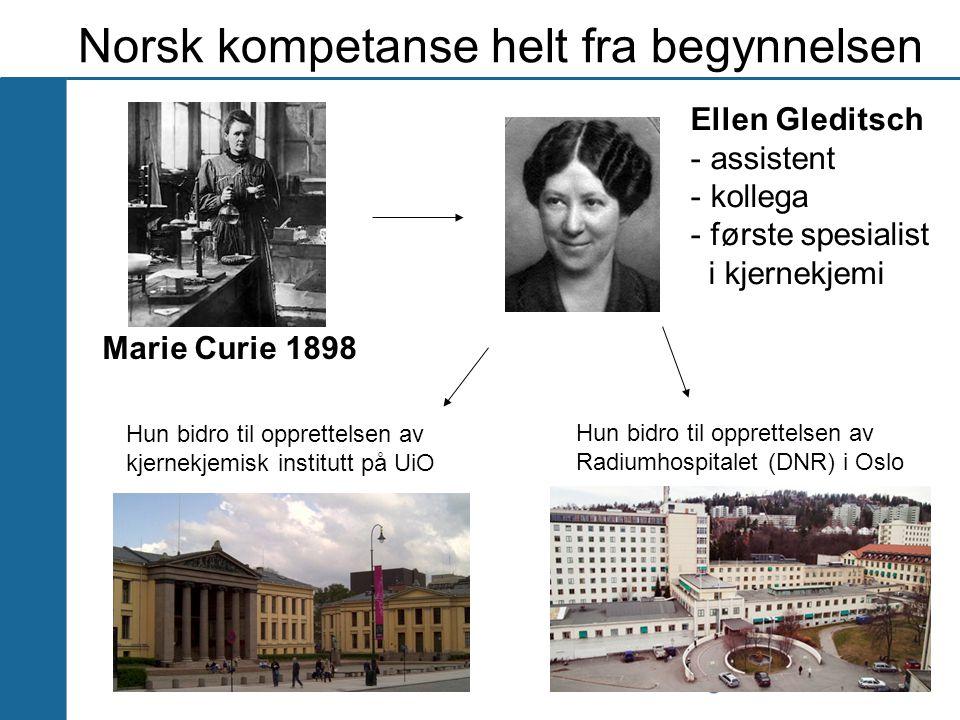 Norsk kompetanse helt fra begynnelsen Marie Curie 1898 Ellen Gleditsch - assistent - kollega - første spesialist i kjernekjemi Hun bidro til opprettel