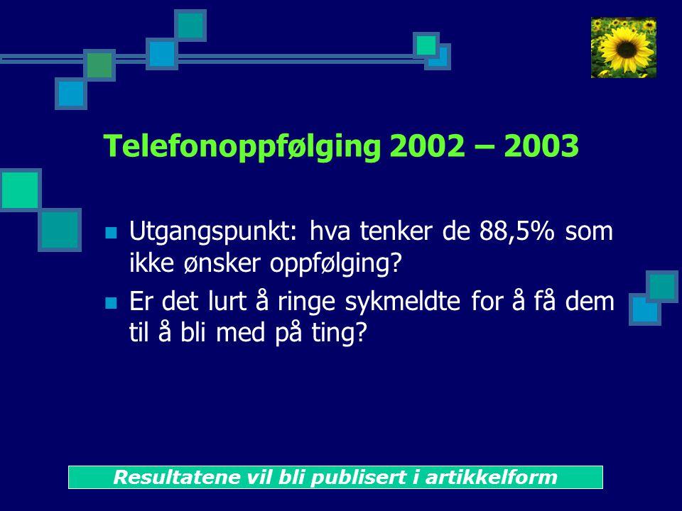 Telefonoppfølging 2002 – 2003  Utgangspunkt: hva tenker de 88,5% som ikke ønsker oppfølging.