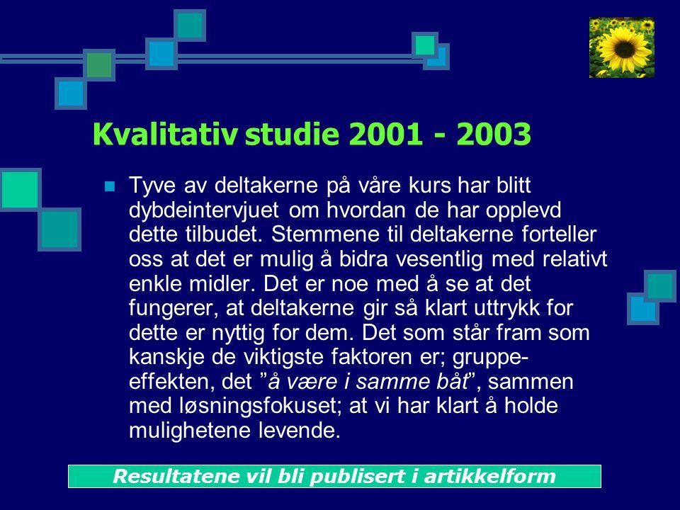 Kvalitativ studie 2001 - 2003  Tyve av deltakerne på våre kurs har blitt dybdeintervjuet om hvordan de har opplevd dette tilbudet.