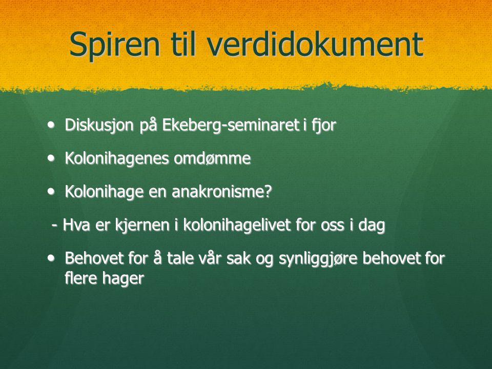 Spiren til verdidokument  Diskusjon på Ekeberg-seminaret i fjor  Kolonihagenes omdømme  Kolonihage en anakronisme? - Hva er kjernen i kolonihageliv