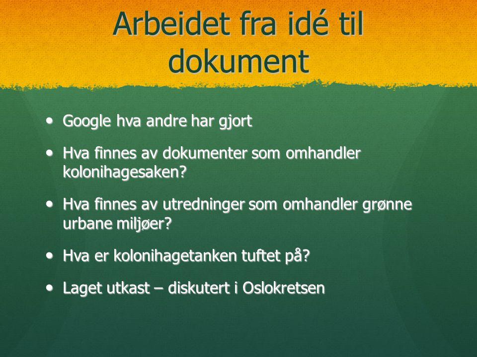 Arbeidet fra idé til dokument  Google hva andre har gjort  Hva finnes av dokumenter som omhandler kolonihagesaken?  Hva finnes av utredninger som o