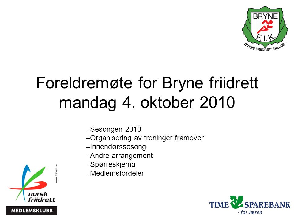 Foreldremøte for Bryne friidrett mandag 4.