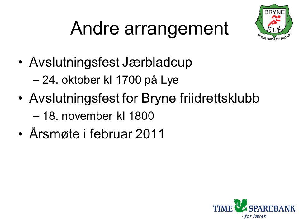 Andre arrangement •Avslutningsfest Jærbladcup –24.