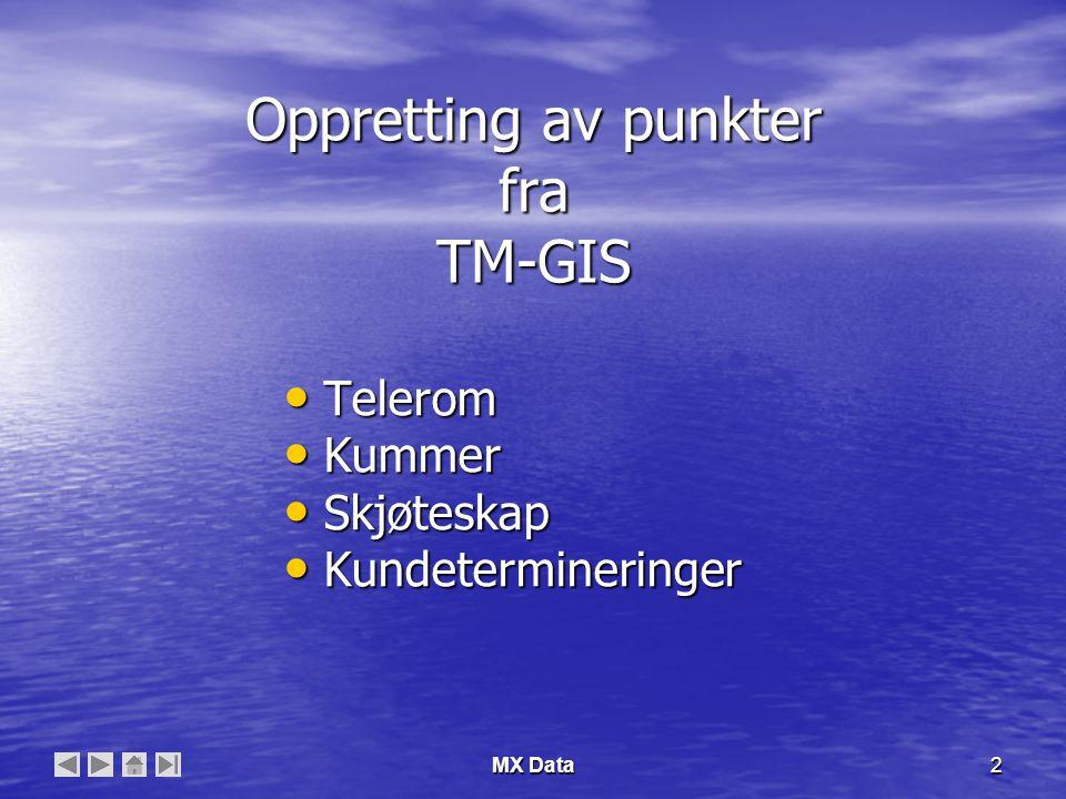 MX Data2 Oppretting av punkter fra TM-GIS • Telerom • Kummer • Skjøteskap • Kundetermineringer