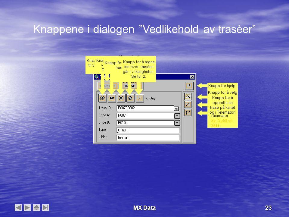 MX Data23 Knappene i dialogen Vedlikehold av trasèer Knapp for å vedlikeholde punkt.