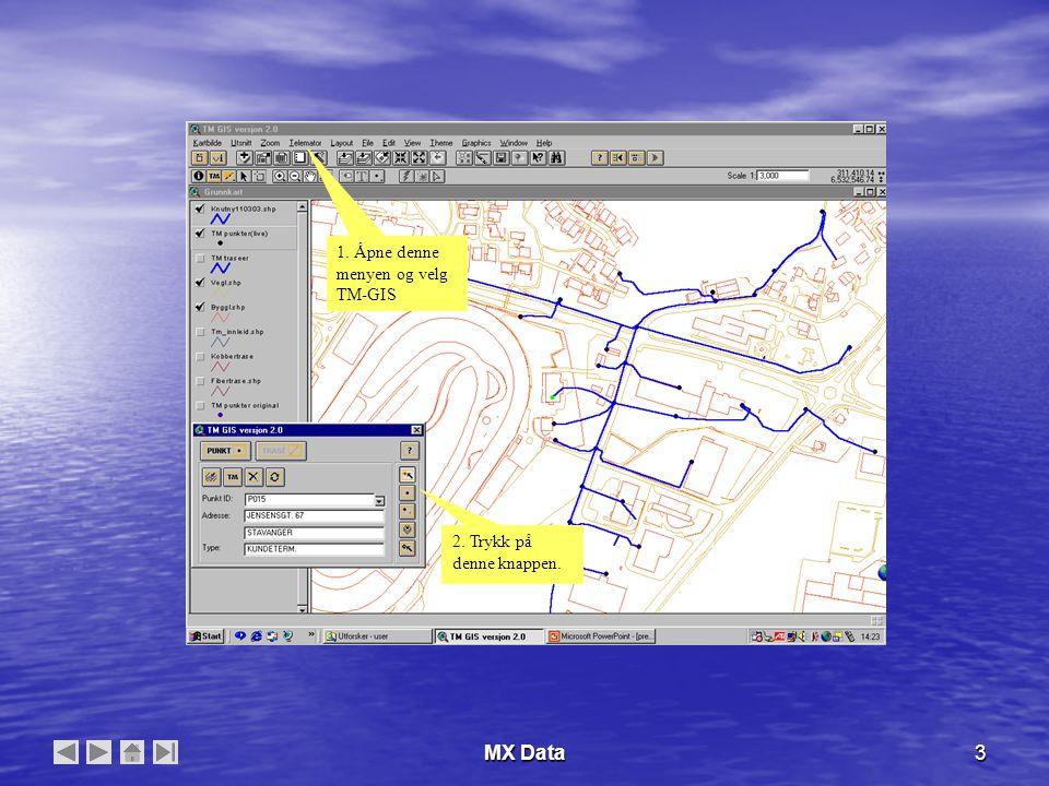 MX Data24 Splitte en trasè 1.Opprett et punkt som trasèen skal splittes i.