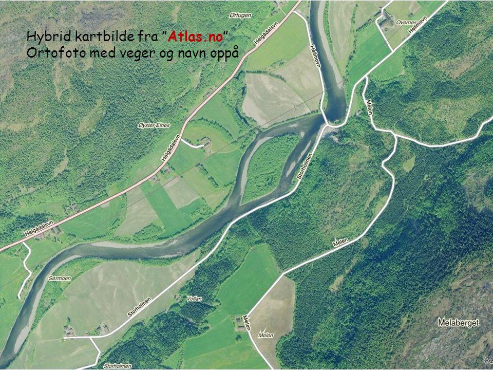 """Hybrid kartbilde fra """"Atlas.no"""" Ortofoto med veger og navn oppå"""