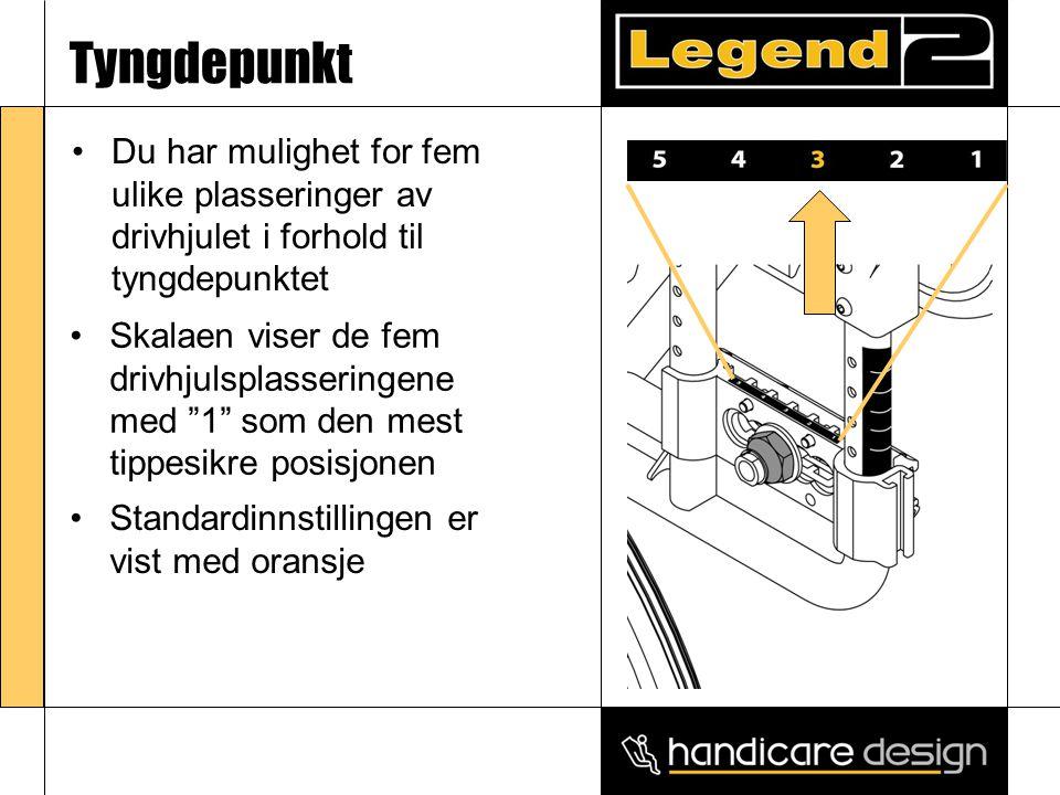 Tyngdepunkt •Du har mulighet for fem ulike plasseringer av drivhjulet i forhold til tyngdepunktet •Skalaen viser de fem drivhjulsplasseringene med 1 som den mest tippesikre posisjonen •Standardinnstillingen er vist med oransje