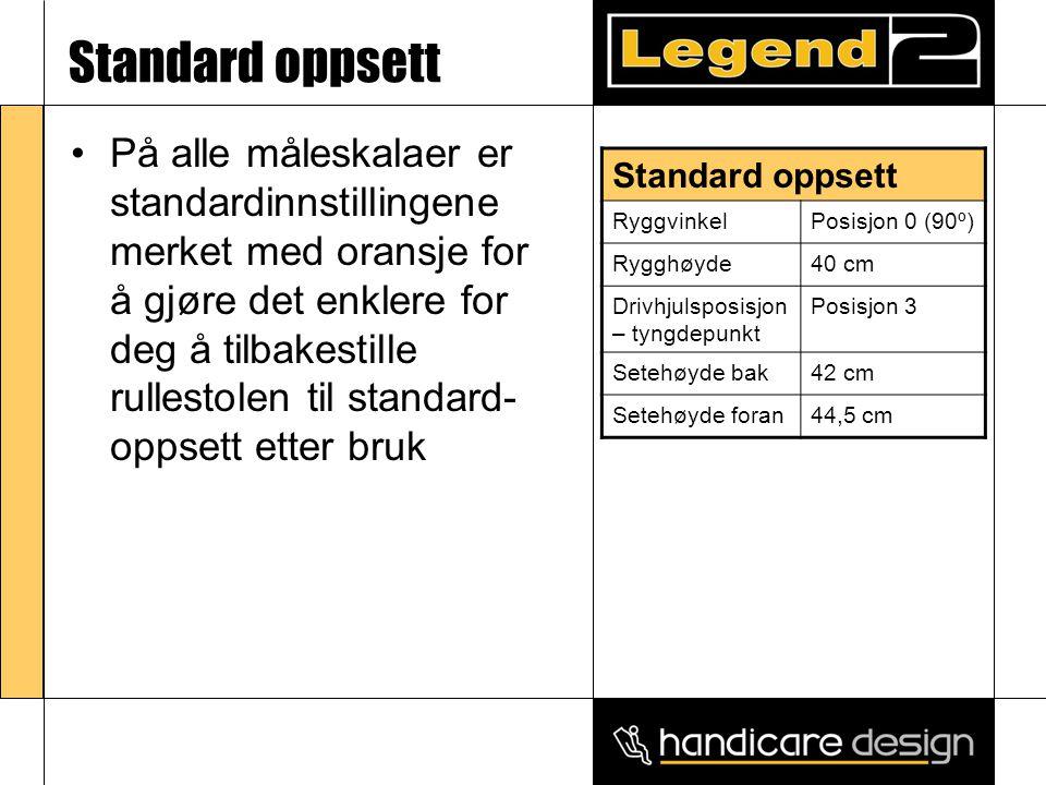 Standard oppsett •På alle måleskalaer er standardinnstillingene merket med oransje for å gjøre det enklere for deg å tilbakestille rullestolen til standard- oppsett etter bruk Standard oppsett RyggvinkelPosisjon 0 (90º) Rygghøyde40 cm Drivhjulsposisjon – tyngdepunkt Posisjon 3 Setehøyde bak42 cm Setehøyde foran44,5 cm