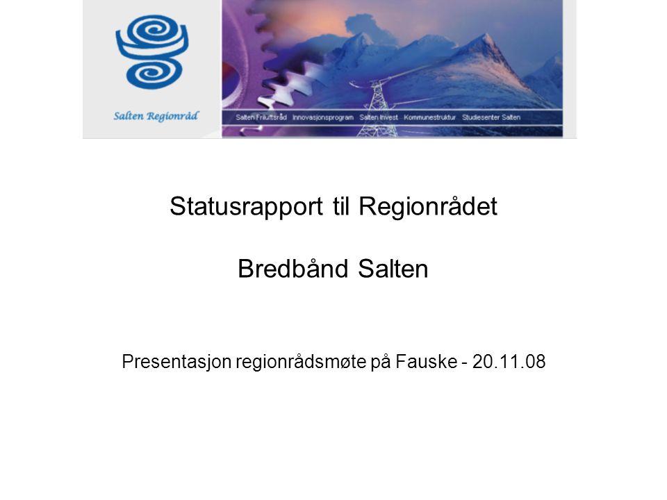 Statusrapport til Regionrådet Bredbånd Salten Presentasjon regionrådsmøte på Fauske - 20.11.08