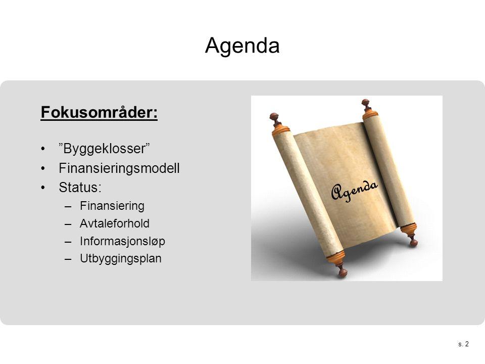 """s. 2 Agenda Fokusområder: •""""Byggeklosser"""" •Finansieringsmodell •Status: –Finansiering –Avtaleforhold –Informasjonsløp –Utbyggingsplan Agenda"""