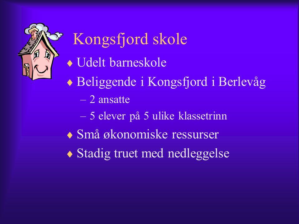 Kongsfjord skole  Udelt barneskole  Beliggende i Kongsfjord i Berlevåg –2 ansatte –5 elever på 5 ulike klassetrinn  Små økonomiske ressurser  Stadig truet med nedleggelse