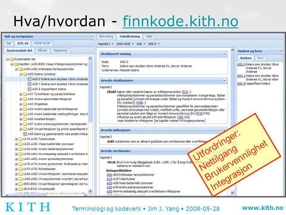 Terminologi og kodeverk • Jim J. Yang • 2008-05-28 www.kith.no Hva/hvordan - finnkode.kith.nofinnkode.kith.no Utfordringer: Nettilgang Brukervennlighe