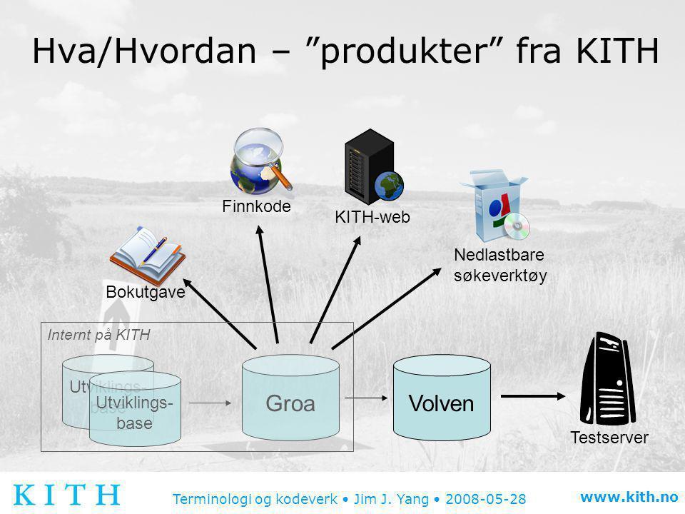 """Terminologi og kodeverk • Jim J. Yang • 2008-05-28 www.kith.no Hva/Hvordan – """"produkter"""" fra KITH Groa Utviklings- base Utviklings- base Volven Bokutg"""