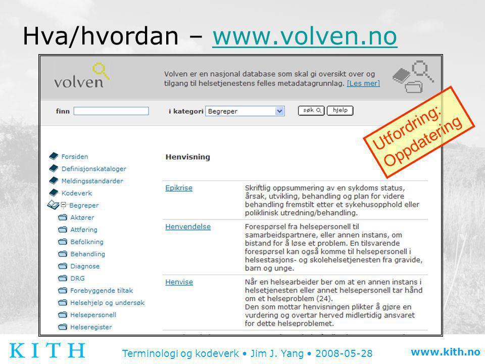 Terminologi og kodeverk • Jim J. Yang • 2008-05-28 www.kith.no Hva/hvordan – www.volven.nowww.volven.no Utfordring: Oppdatering