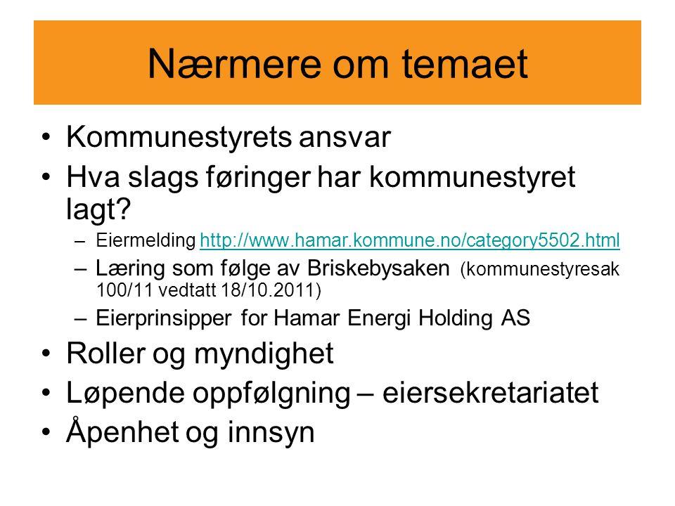 Nærmere om temaet •Kommunestyrets ansvar •Hva slags føringer har kommunestyret lagt? –Eiermelding http://www.hamar.kommune.no/category5502.htmlhttp://