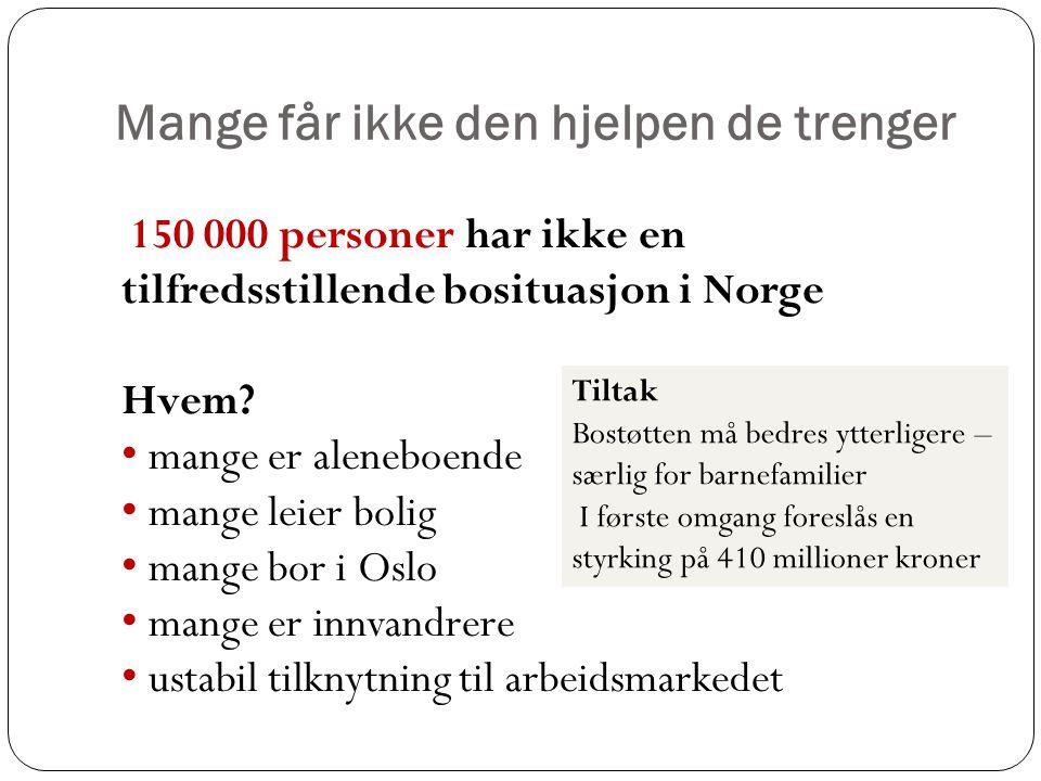 Mange får ikke den hjelpen de trenger 150 000 personer har ikke en tilfredsstillende bosituasjon i Norge Hvem? • mange er aleneboende • mange leier bo