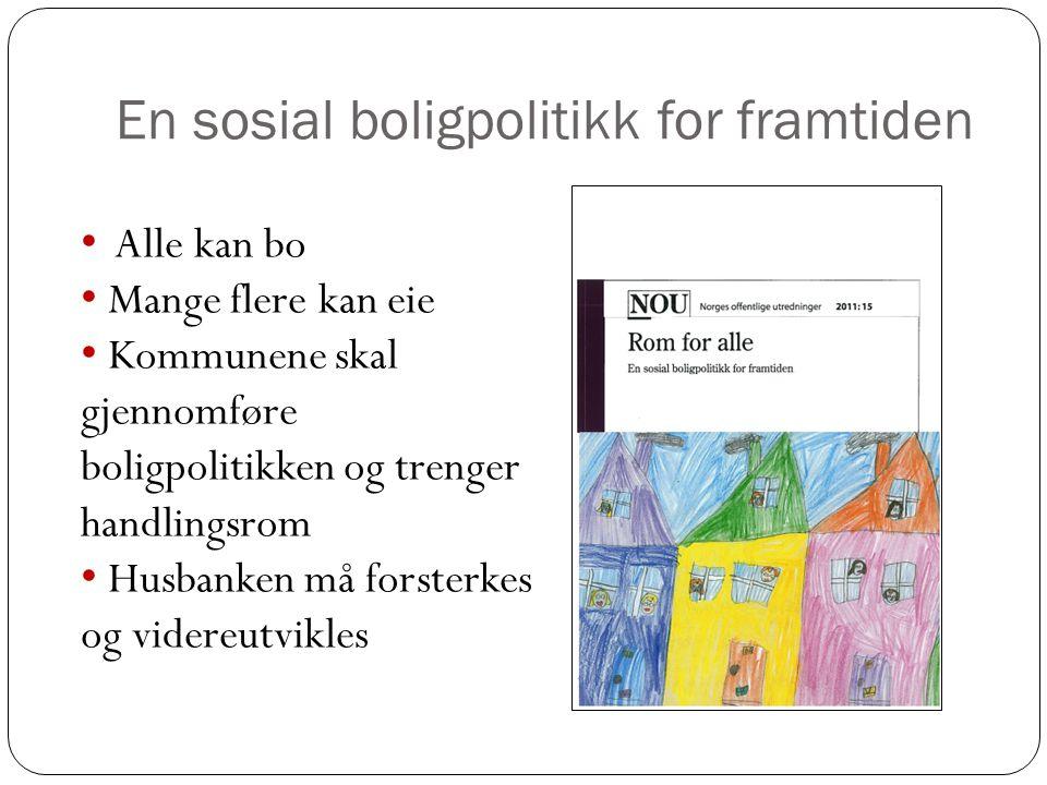 En sosial boligpolitikk for framtiden • Alle kan bo • Mange flere kan eie • Kommunene skal gjennomføre boligpolitikken og trenger handlingsrom • Husba
