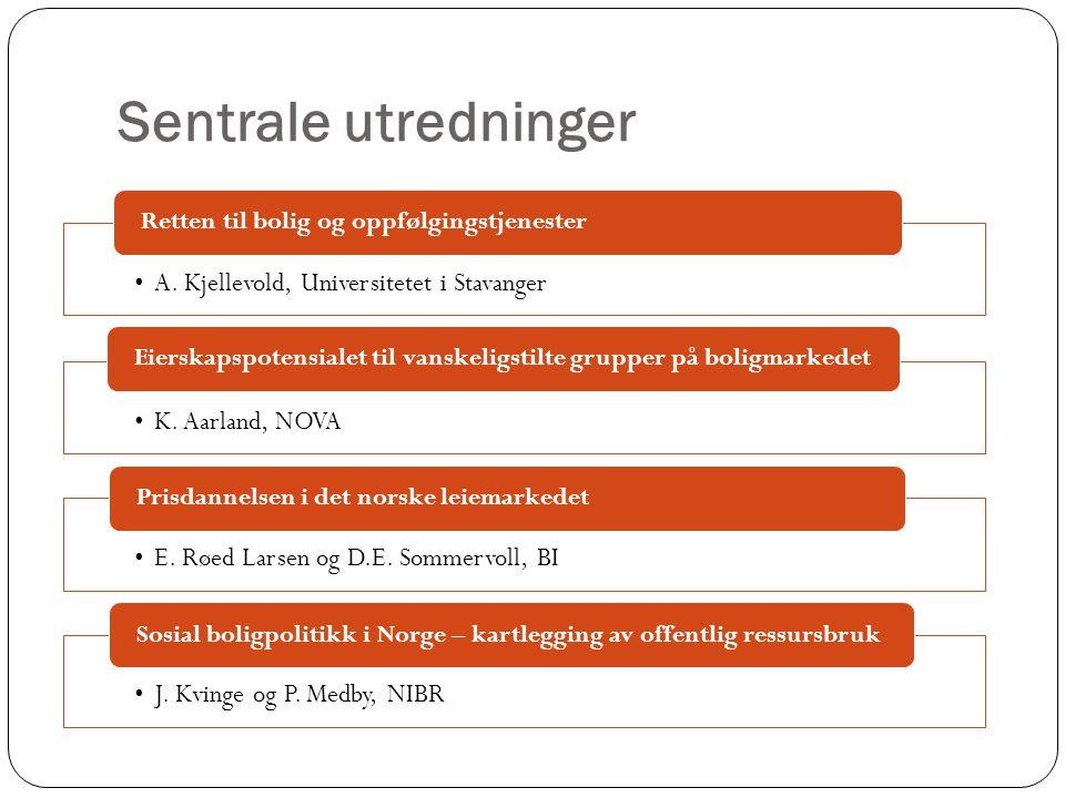 Sentrale utredninger •A. Kjellevold, Universitetet i Stavanger Retten til bolig og oppfølgingstjenester •K. Aarland, NOVA Eierskapspotensialet til van