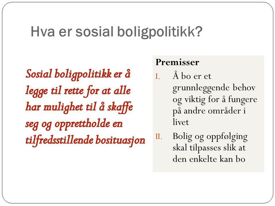 Hva er sosial boligpolitikk? Premisser I. Å bo er et grunnleggende behov og viktig for å fungere på andre områder i livet II. Bolig og oppfølging skal