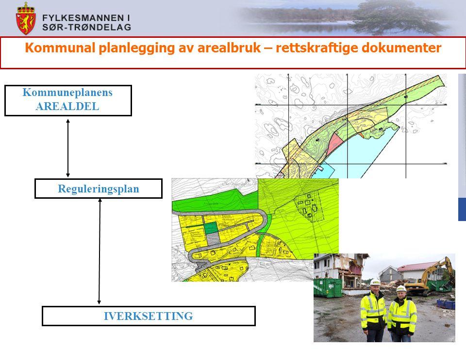 IVERKSETTING Kommuneplanens AREALDEL Reguleringsplan Kommunal planlegging av arealbruk – rettskraftige dokumenter