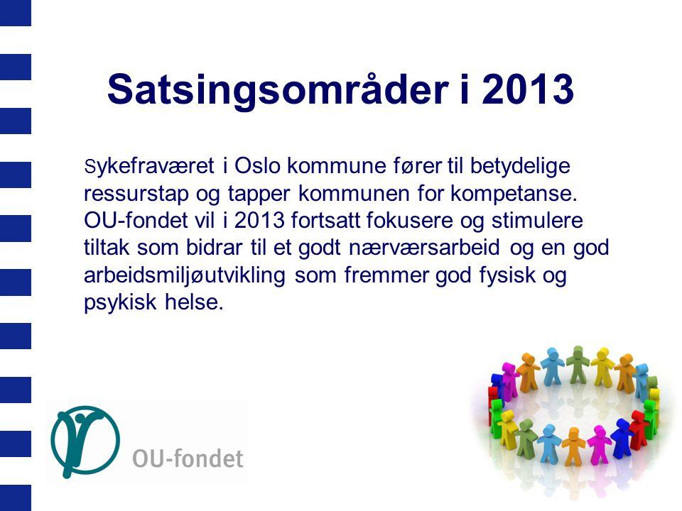 Satsingsområder i 2013 S ykefraværet i Oslo kommune fører til betydelige ressurstap og tapper kommunen for kompetanse. OU-fondet vil i 2013 fortsatt f