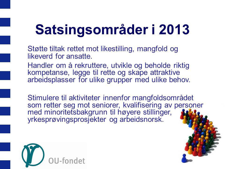 Satsingsområder i 2013 Støtte tiltak rettet mot likestilling, mangfold og likeverd for ansatte. Handler om å rekruttere, utvikle og beholde riktig kom