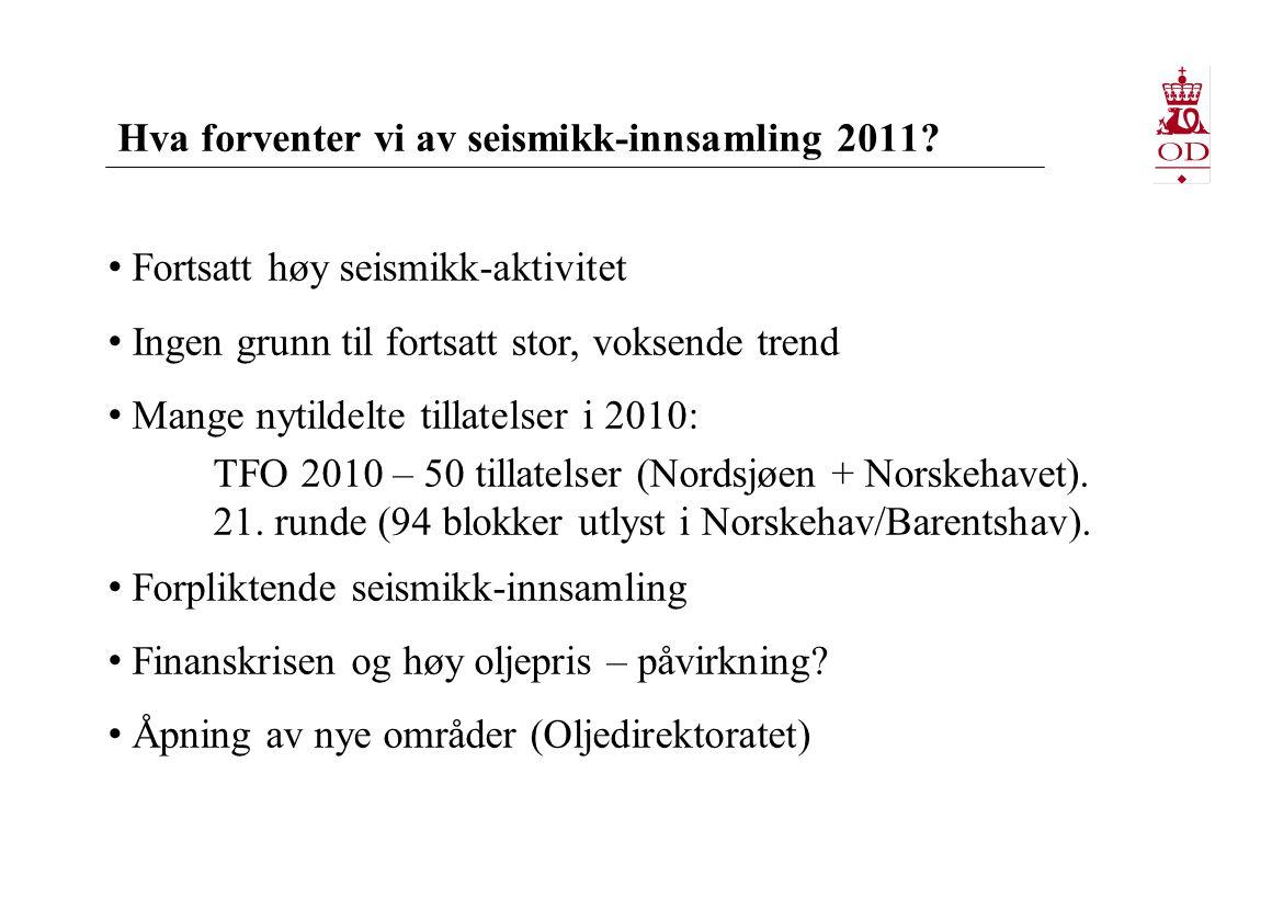 Hva forventer vi av seismikk-innsamling 2011? • Fortsatt høy seismikk-aktivitet • Ingen grunn til fortsatt stor, voksende trend • Mange nytildelte til