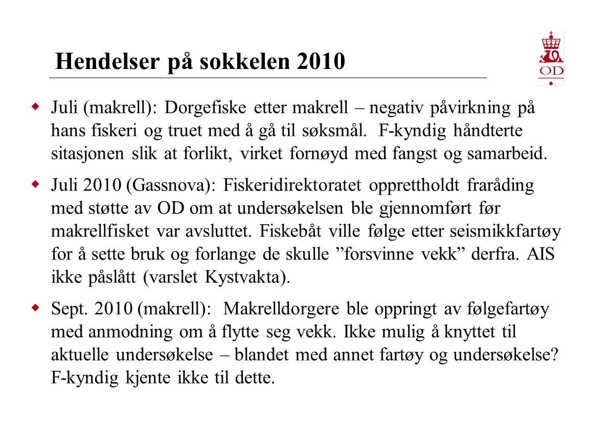 Hendelser på sokkelen 2010  Juli (makrell): Dorgefiske etter makrell – negativ påvirkning på hans fiskeri og truet med å gå til søksmål. F-kyndig hån
